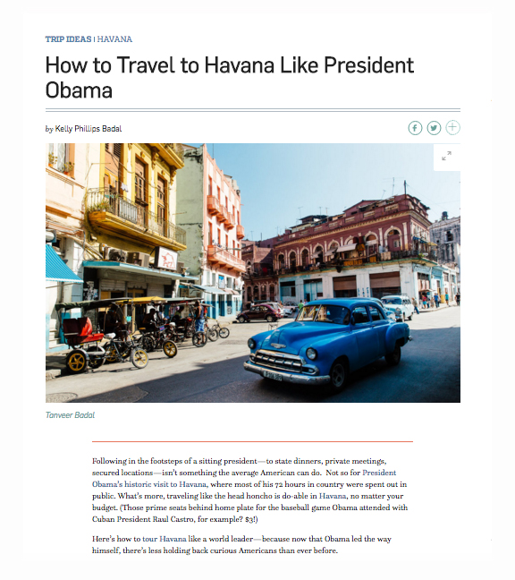 Travel + Leisure - How to Travel to Havana Like President Obama